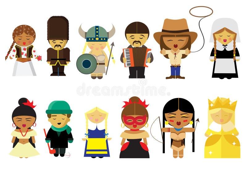 Ludzie od ich obywatela po na całym świecie wewnątrz odziewają royalty ilustracja