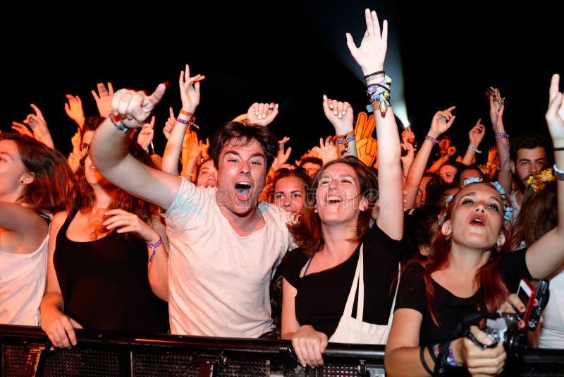 Ludzie od widowni co koncert przy kłamstewko festiwalem obraz stock