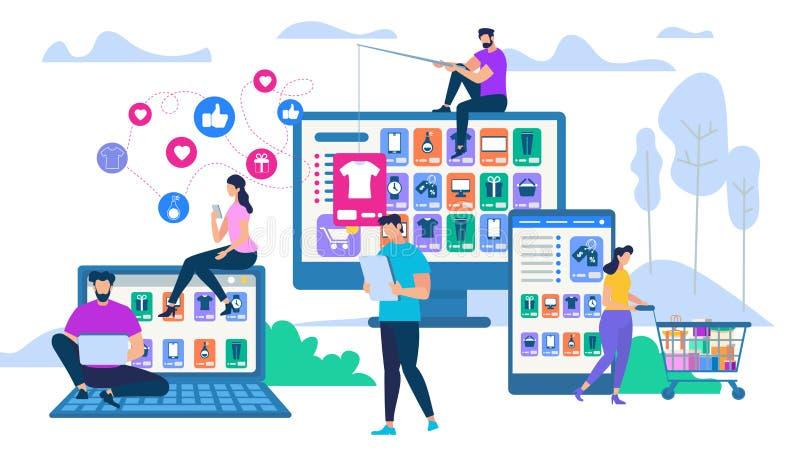 Ludzie Oddziała wzajemnie z gadżetem dla Online zakupy ilustracji
