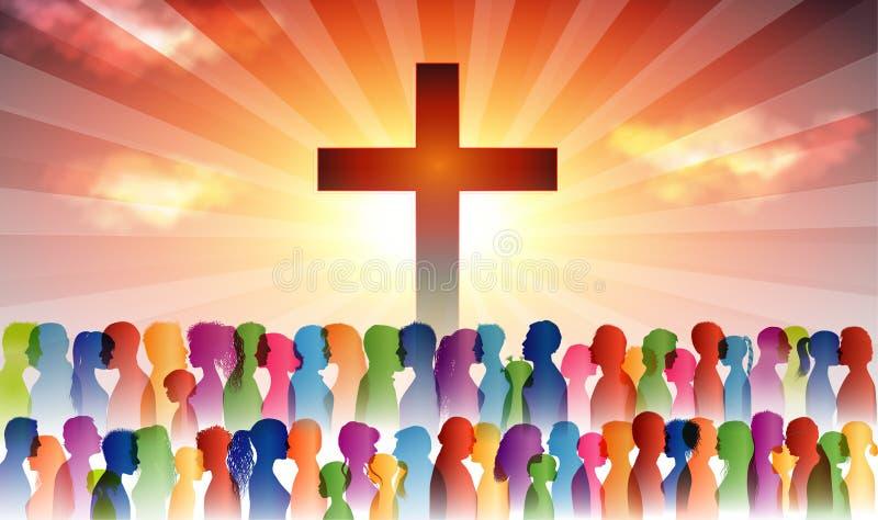 Ludzie odnajdujący chrześcijaństwo Tłum wierzących Ludzie na krzyżu Uwierzący, którzy się modlą Grupa osób Kościół chrześcijański ilustracja wektor