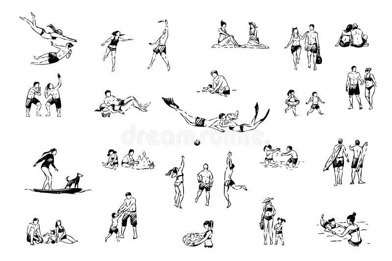Ludzie odpoczywają przy tropikalnym kurortem, dopłynięcie, bawić się siatkówkę, bierze fotografie, rodziny odtwarzania plażowy se ilustracji