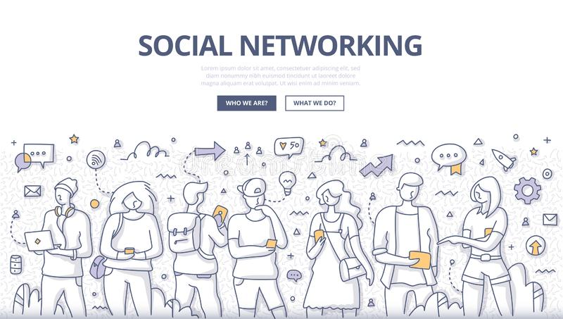 Ludzie Ogólnospołecznego networking Doodle pojęcia ilustracji