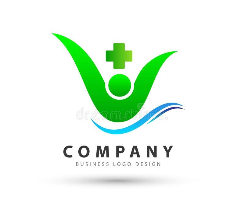 Ludzie opieki zdrowotnej ikony z wodnej fali nowym modnym wysokiej jakości fachowym logo ilustracji