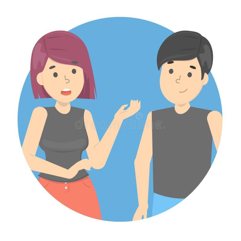 Ludzie opowiada each inny Dialog między kobietami ilustracji