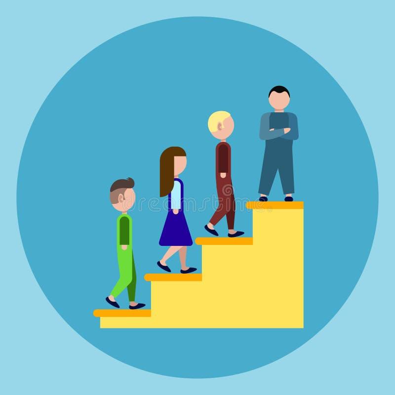 Ludzie Os podium schodków ikony zwycięzcy sukcesu Biznesowego pojęcia ilustracja wektor