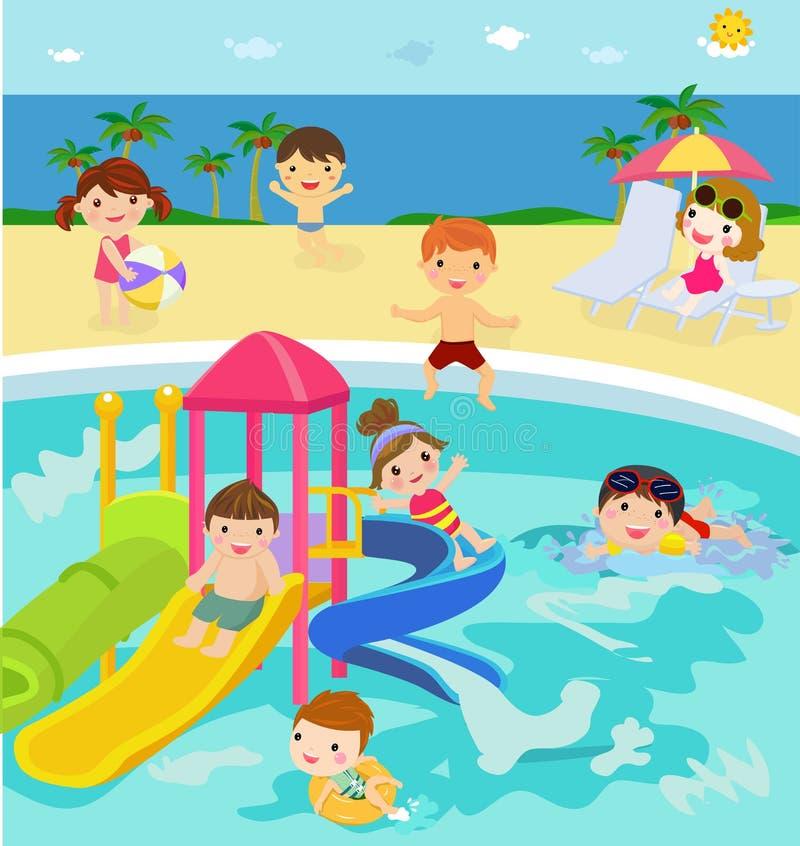 Ludzie pływa w aqua parku ilustracja wektor