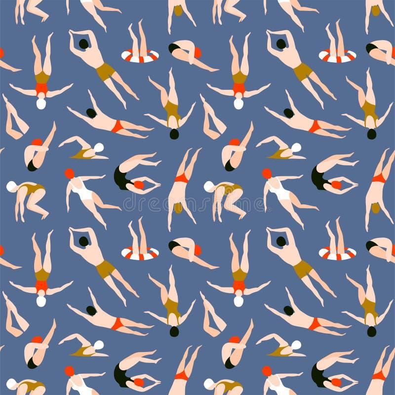 Ludzie pływa wzór bezszwowy tła lato Lato wektorowa ilustracja z pływaczkami, płaski projekt ilustracji