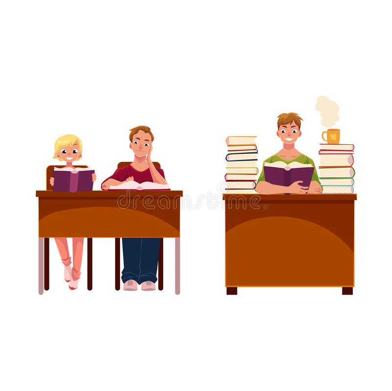 Ludzie, para i mężczyzna, czytelnicze książki w bibliotece ilustracji