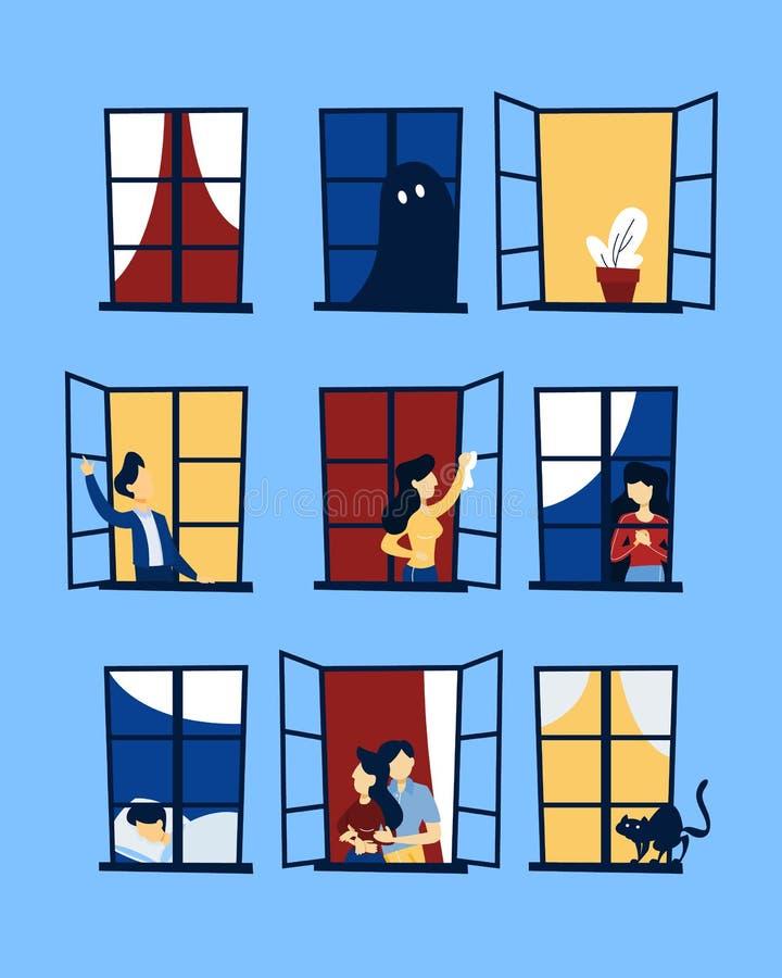 Ludzie patrzeje z okno setu ilustracji