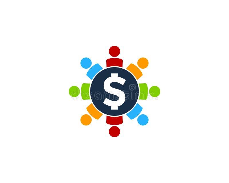 Ludzie pieniądze ikony loga projekta elementu royalty ilustracja