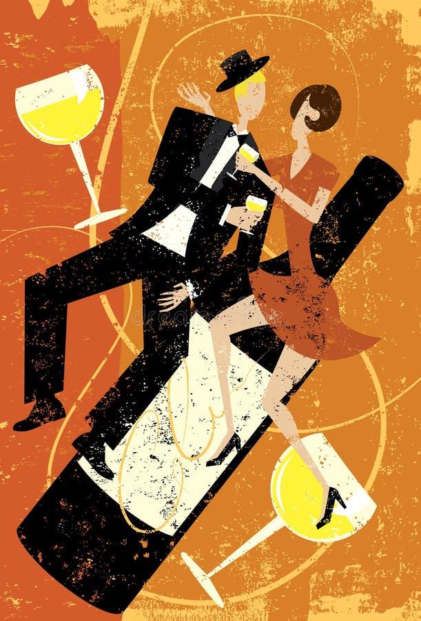 Ludzie pije wino ilustracji