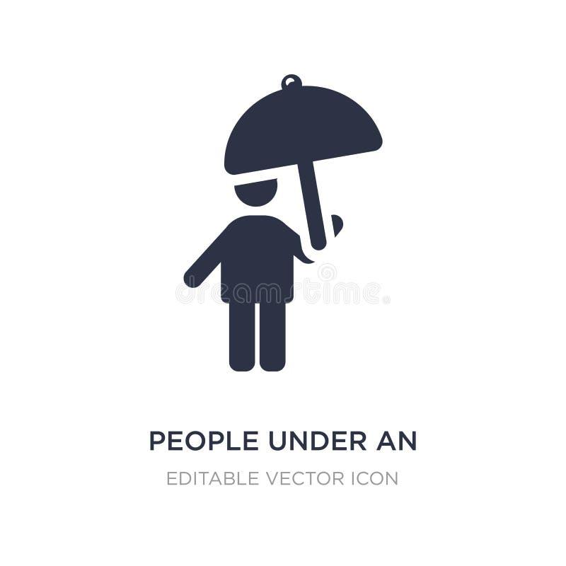 ludzie pod parasolową ikoną na białym tle Prosta element ilustracja od ludzi pojęć royalty ilustracja