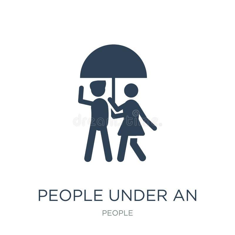 ludzie pod parasolową ikoną w modnym projekcie projektują ludzie pod parasolową ikoną odizolowywającą na białym tle ludzie pod royalty ilustracja
