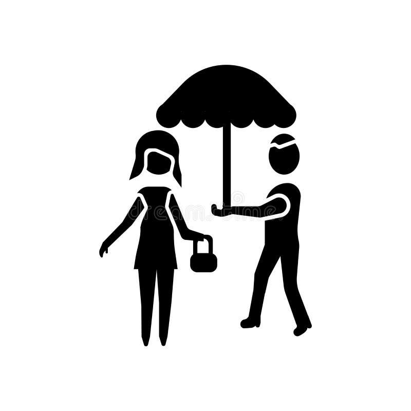 ludzie pod parasolowym ikona wektorem odizolowywającym na białym tle, ludzie pod parasolem podpisują ilustracji