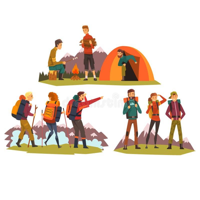 Ludzie podróżuje wpólnie, obozuje, turyści obozuje, wycieczkujący w górach, backpacking wycieczce lub wyprawa wektorze, ilustracja wektor