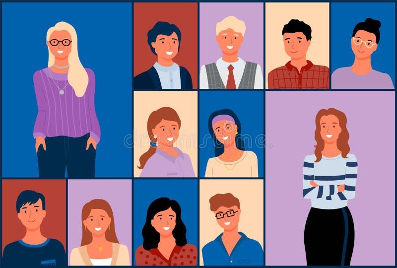 Ludzie portreta, tłum mężczyzna i kobieta wektor, ilustracja wektor