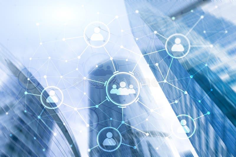 Ludzie powiązania i organizaci struktura wiązki komunikacyjne pojęcia rozmowy ma środki zaludniają socjalny Biznesu i technologii ilustracja wektor
