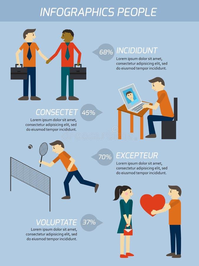 Ludzie powiązania infographics elementów ilustracja wektor