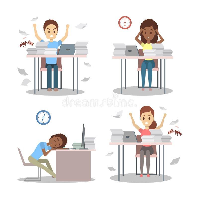 Ludzie pracują póżno przy noc setem Zmęczony biurowy charakter ilustracji