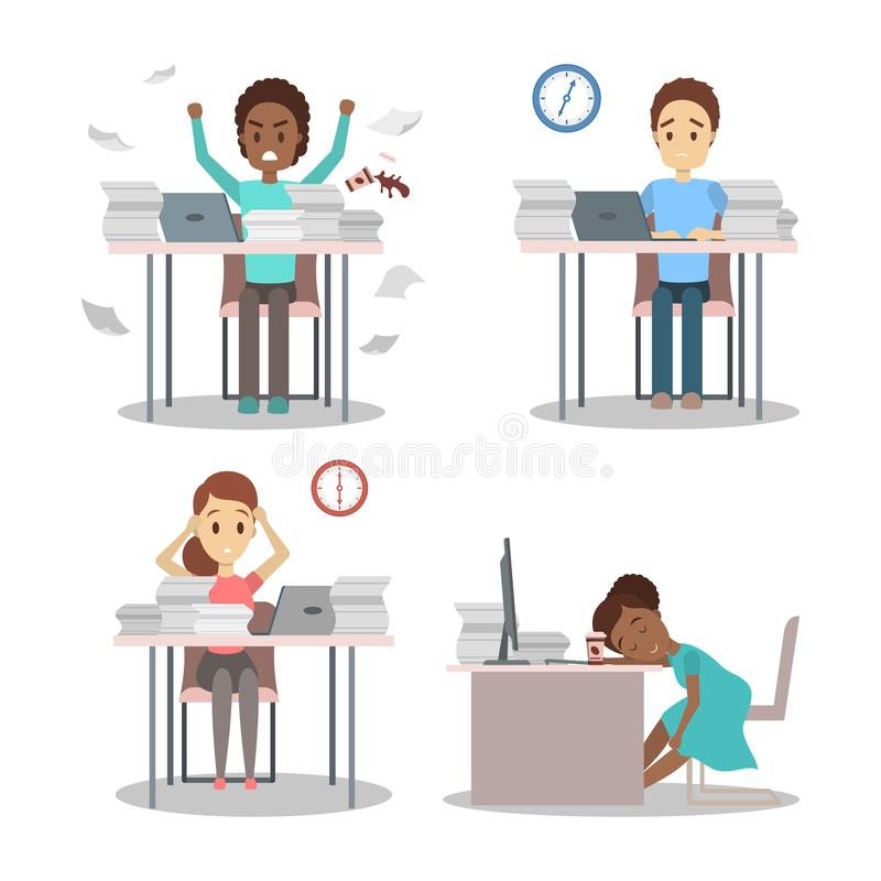 Ludzie pracują póżno przy noc setem Zmęczony biurowy charakter royalty ilustracja