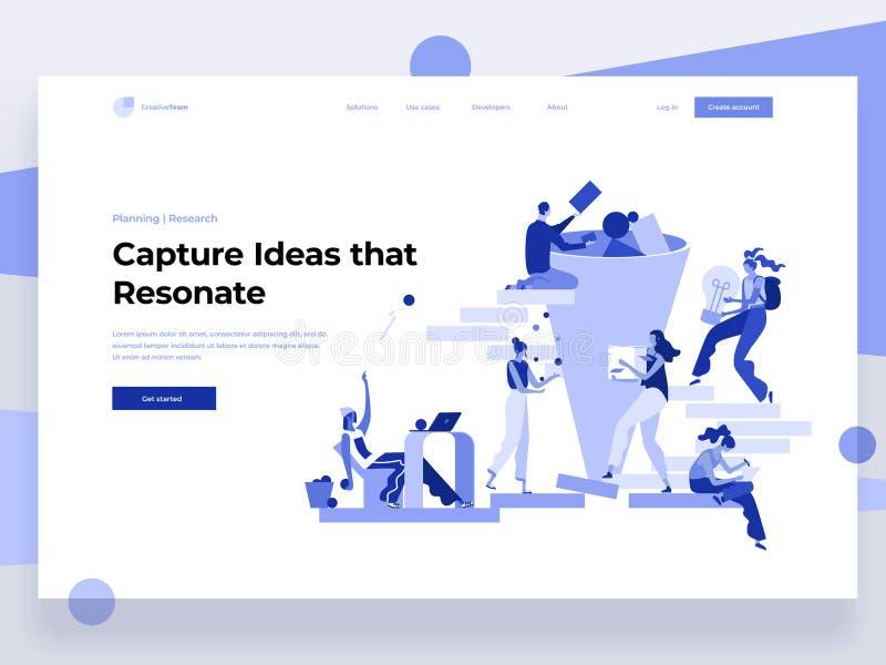 Ludzie pracują w drużynie, wytwarzają pomysły podczas gdy oddziałający wzajemnie z kształtami Dane analiza, biurowe sytuacje Płas ilustracji