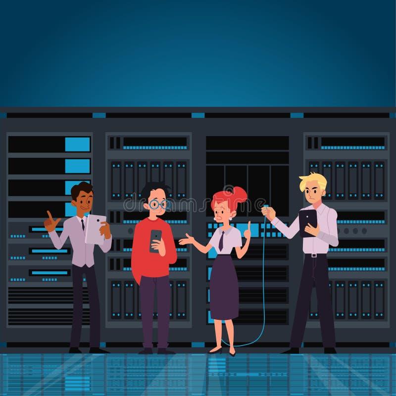 Ludzie pracuje centrum danych pokój lub komputeru serweru płaską wektorową ilustrację Ja royalty ilustracja
