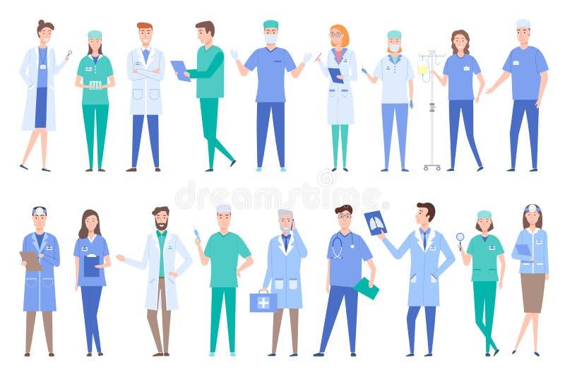 Ludzie Pracuje jak lekarki Jest ubranym toga mundury royalty ilustracja