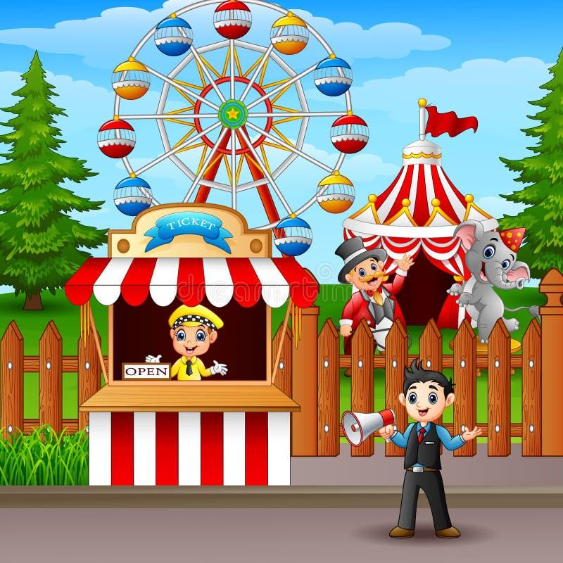 Ludzie pracuje przy parkiem rozrywki ilustracja wektor