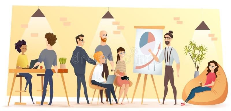 Ludzie Pracuje w Coworking kreskówki Biurowym wektorze ilustracja wektor
