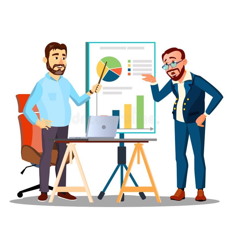 Ludzie pracy Jako drużyna, Dyskutują rozkład strategię, Dyskutują wektor button ręce s push odizolowana początku ilustracyjna kob ilustracja wektor