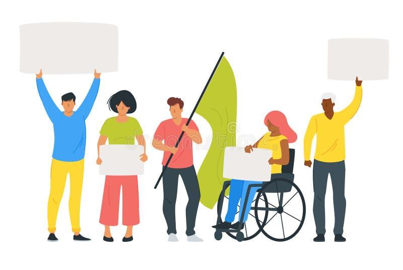 Ludzie protesta lub parada royalty ilustracja