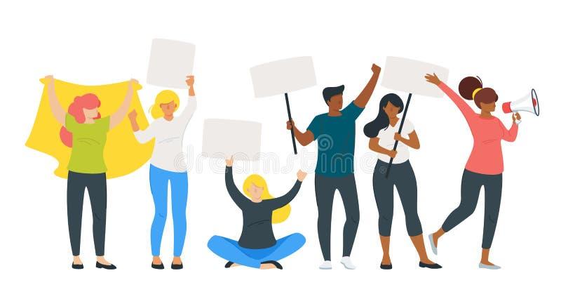 Ludzie protesta lub parada ilustracja wektor