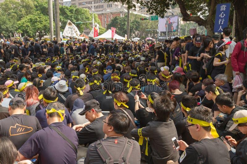 Ludzie protestują Tajwan układ handlowego zdjęcie royalty free