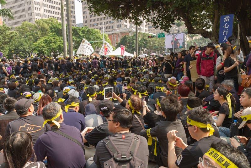 Ludzie protestują Tajwan układ handlowego fotografia stock