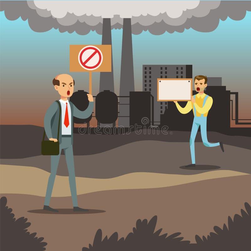Ludzie protestuje przeciw zanieczyszczeniu powietrza z plakatami, zanieczyszczenie środowiska royalty ilustracja