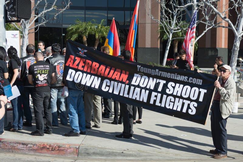 Ludzie protestuje przy konsulatem Azerbejdżan ku pamięci G obrazy stock