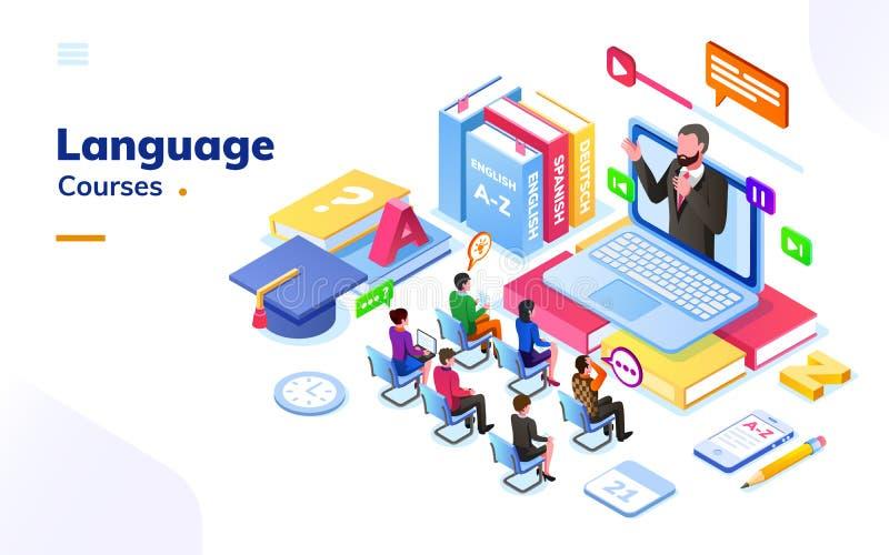 Ludzie przy cudzoziemskimi, międzynarodowymi językowymi kursami, ilustracji