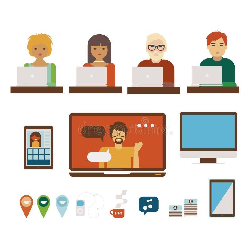 Ludzie przy komputerów illystrations ustawiającymi royalty ilustracja