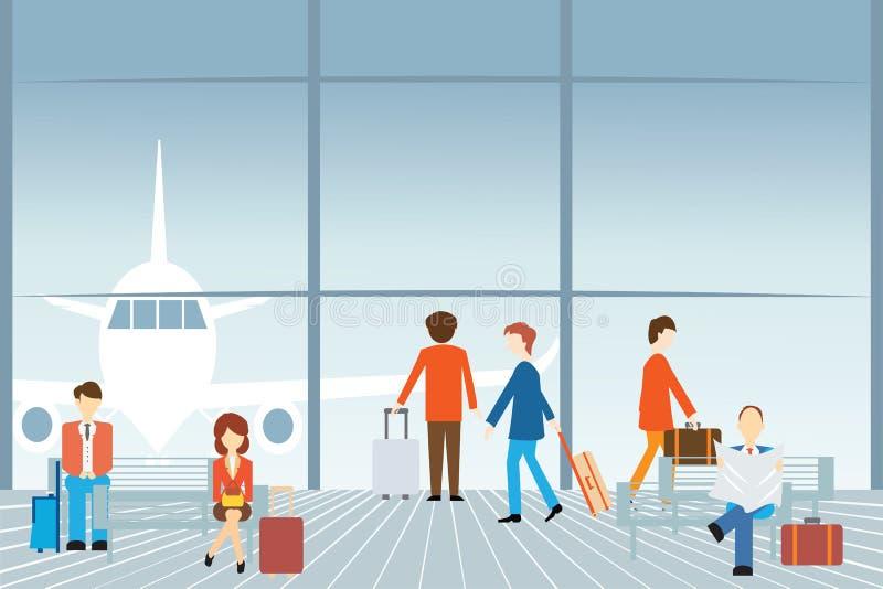 Ludzie przy lotniskiem royalty ilustracja
