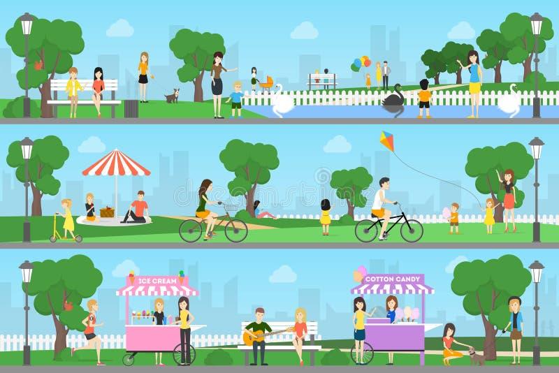 Ludzie przy parkiem ilustracji