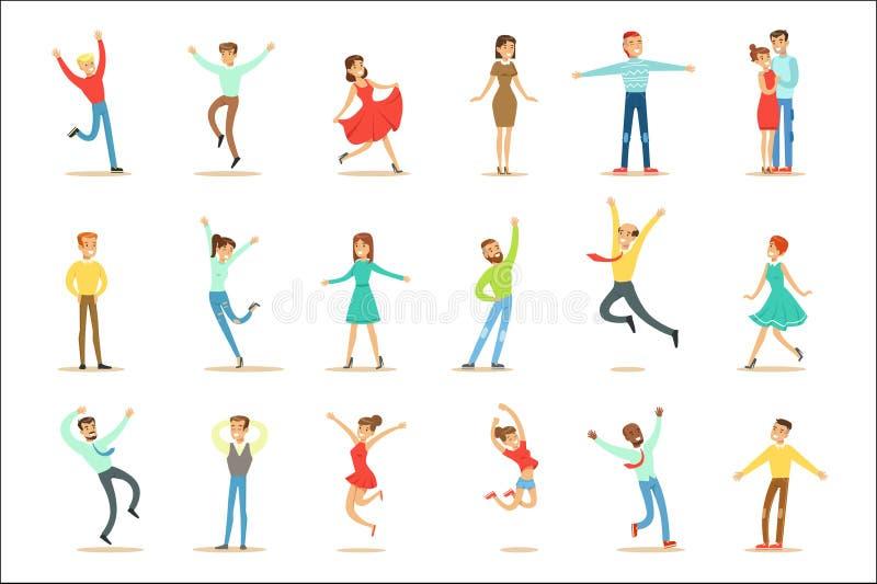 Ludzie Przytłaczający szczęście I Joyfully Ekstatyczny set Szczęśliwi Uśmiechnięci postać z kreskówki royalty ilustracja