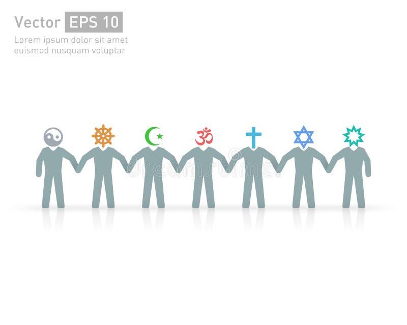 Ludzie różne religie Religia charaktery i przyjaźń i pokój dla różnych kred royalty ilustracja
