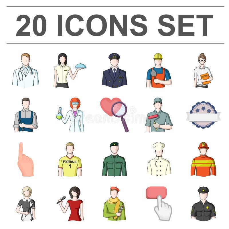 Ludzie różne zawód kreskówki ikony w ustalonej kolekci dla projekta Pracownika i specjalisty symbolu wektorowy zapas ilustracji