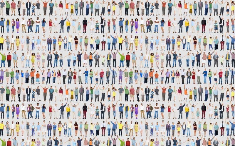 Ludzie różnorodność sukcesu świętowania szczęścia społeczności tłumu C fotografia royalty free