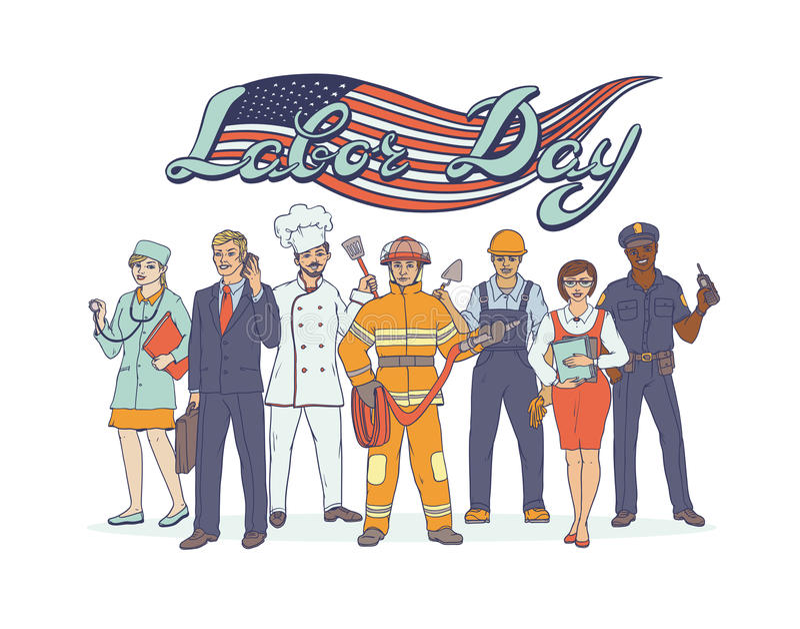 Ludzie różnych zawodów Święta narodowego święto pracy Kartka z pozdrowieniami z flaga amerykańską Wektorowy nakreślenie wystrzału ilustracja wektor