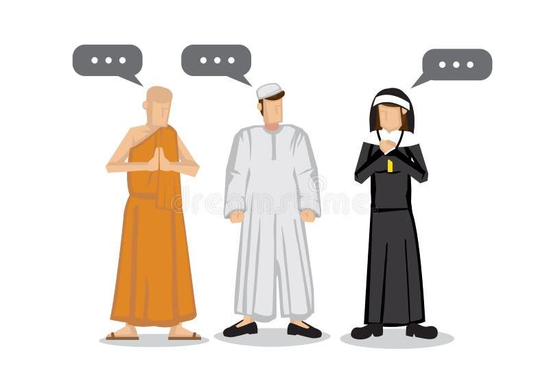 Ludzie r??ne religie Islamu muzułmanin, buddyzmu michaelita i chrześcijaństwo magdalenka, Przyjaźni i pokoju rozmowa pośrodku royalty ilustracja