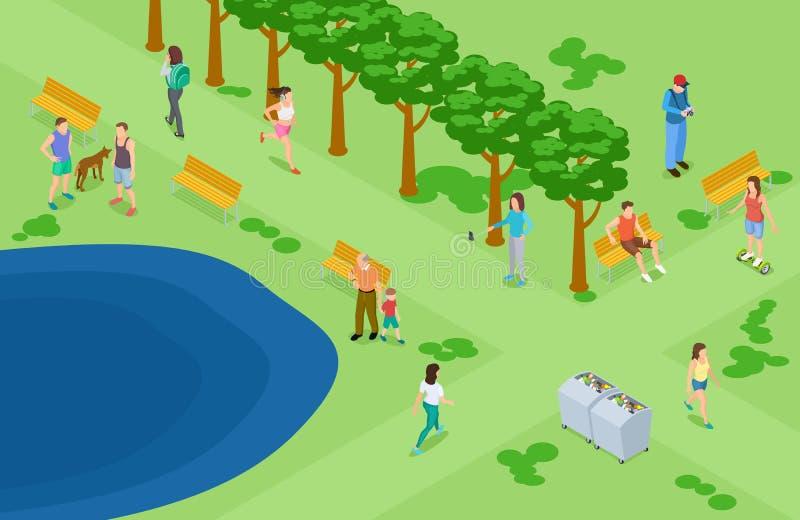 Ludzie relaksuje i biega w parkowym isometric wektorowym tle ilustracja wektor