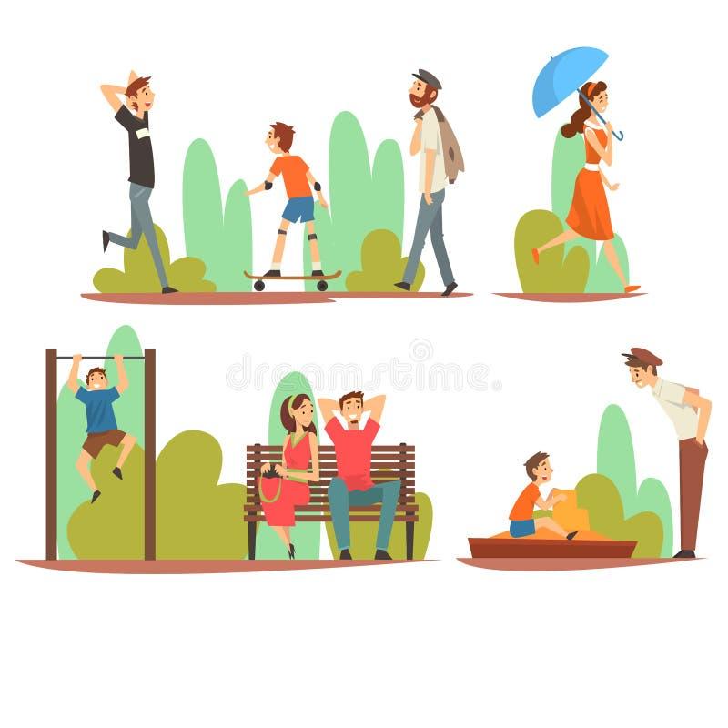 Ludzie Relaksuje sporty w i Robi parku, mężczyznach, kobietach i dzieciach Wydaje czas i Cieszy się natura wektor Outdoors, royalty ilustracja