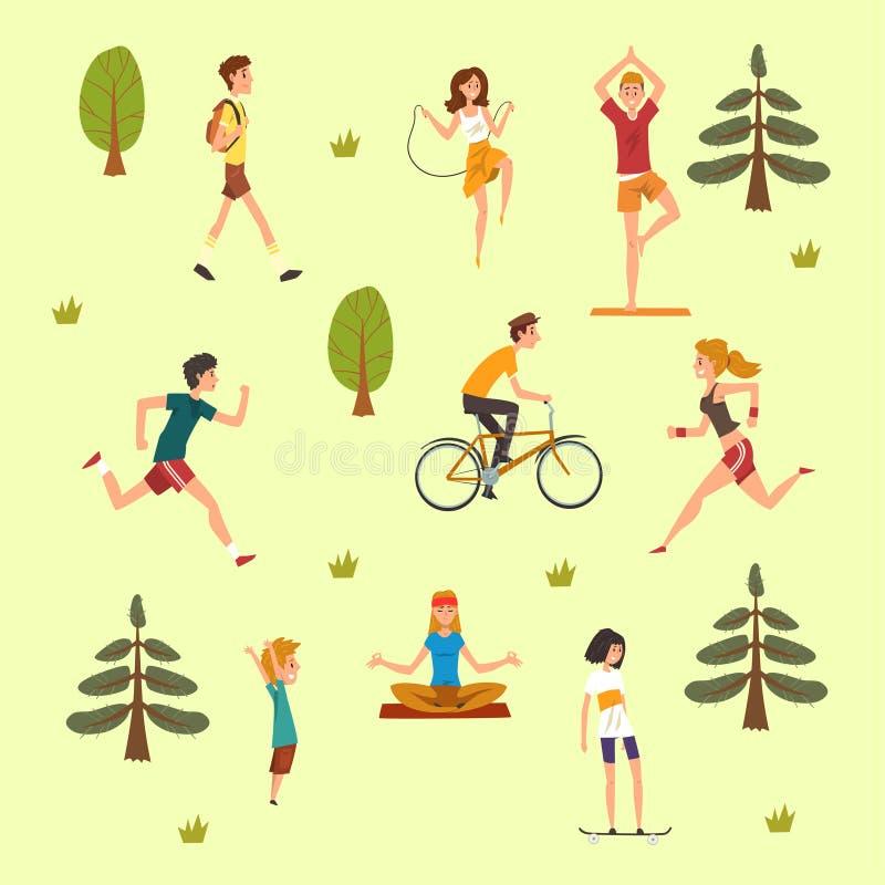 Ludzie robi fizycznej aktywności outdoors, mężczyzna, kobiety, dzieciaki, chodzić, jeździć na deskorolce, kolarstwo i ćwiczyć bie ilustracja wektor
