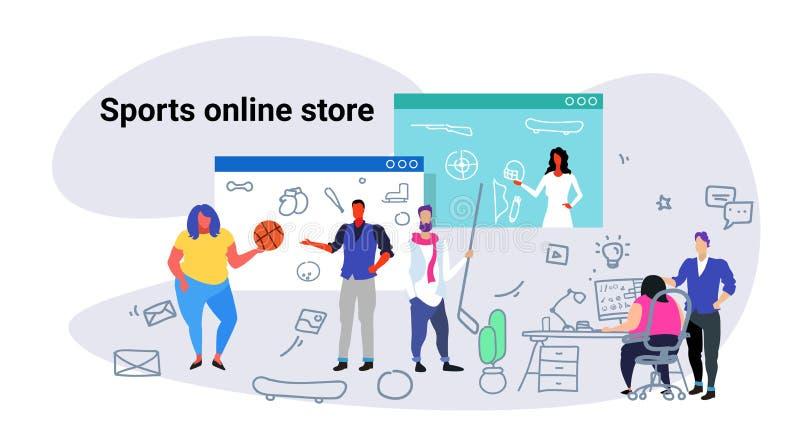 Ludzie robi online zakupów sportom przechują pojęcie mężczyzn kobiety wybiera nowego wyposażenie używać komputerowego zastosowani royalty ilustracja
